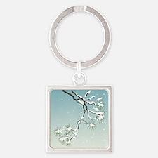 Snowy Japanese Pine Square Keychain