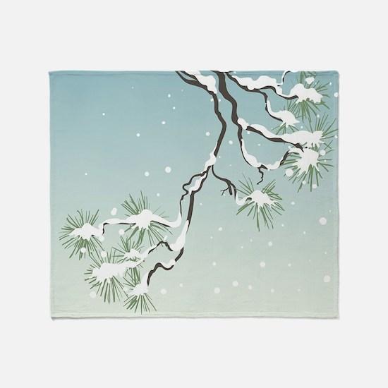 Snowy Japanese Pine Throw Blanket