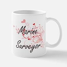 Marine Surveyor Artistic Job Design with Hea Mugs