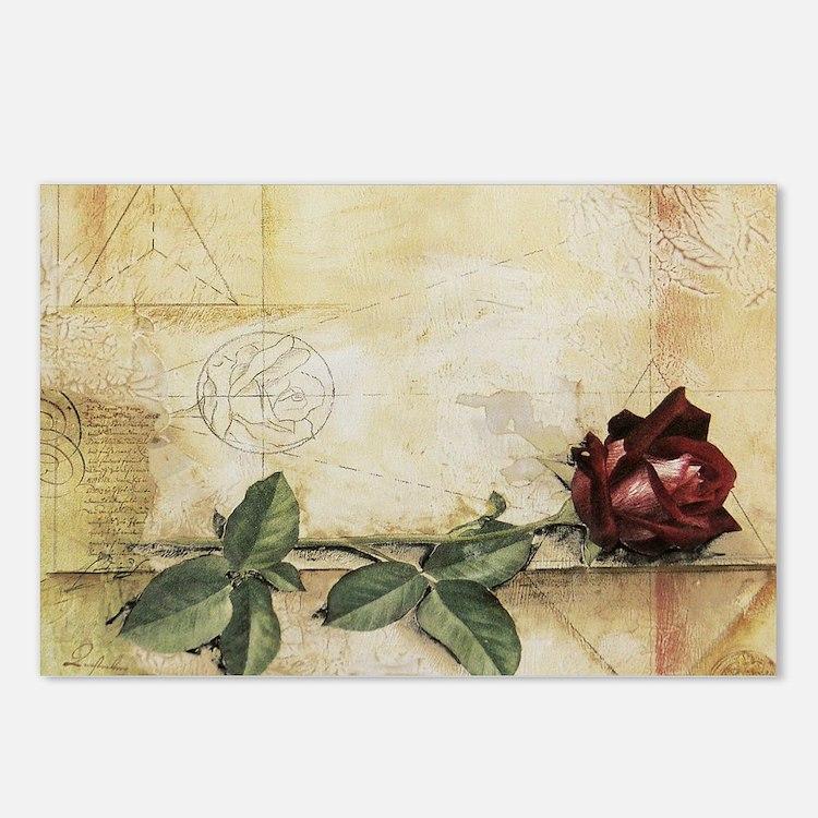 Da Vinci Letter Rose Postcards (Package of 8)
