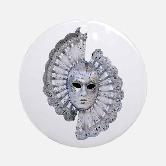 Venetian Silver Mask Round Ornament
