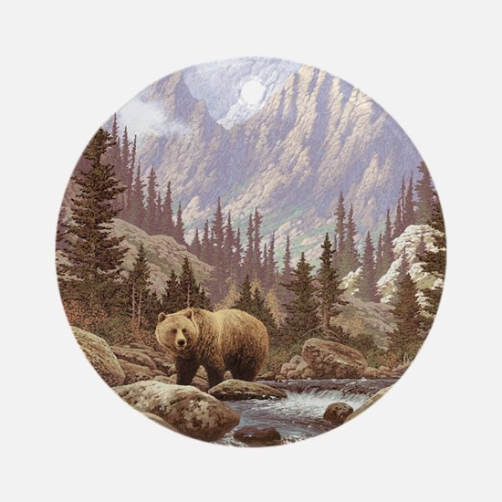 Grizzly Bear Landscape Round Ornament