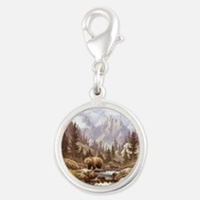 Grizzly Bear Landscape Silver Round Charm