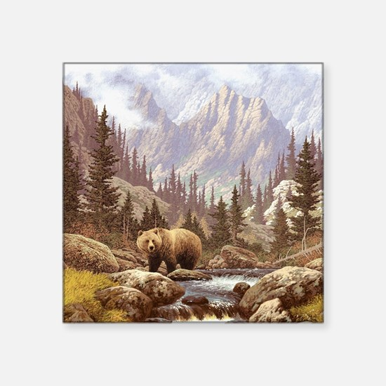 "Grizzly Bear Landscape Square Sticker 3"" x 3"""