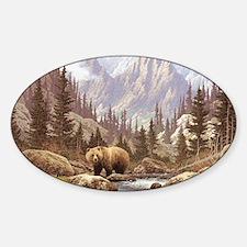 Grizzly Bear Landscape Sticker (Oval)