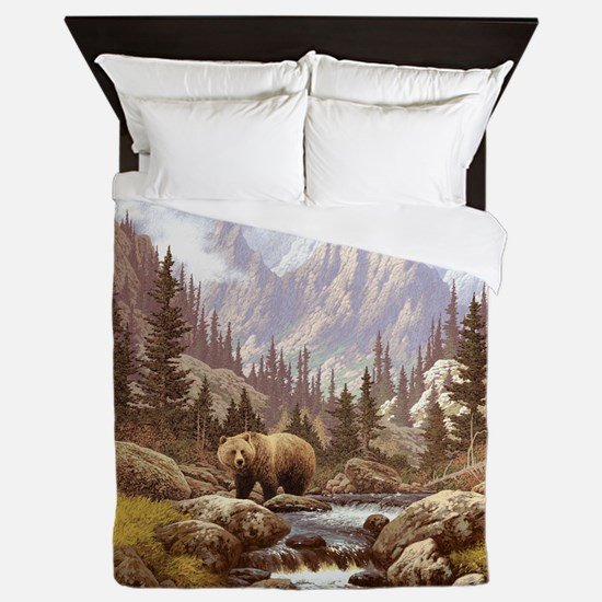 Grizzly Bear Landscape Queen Duvet