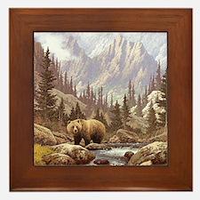 Grizzly Bear Landscape Framed Tile
