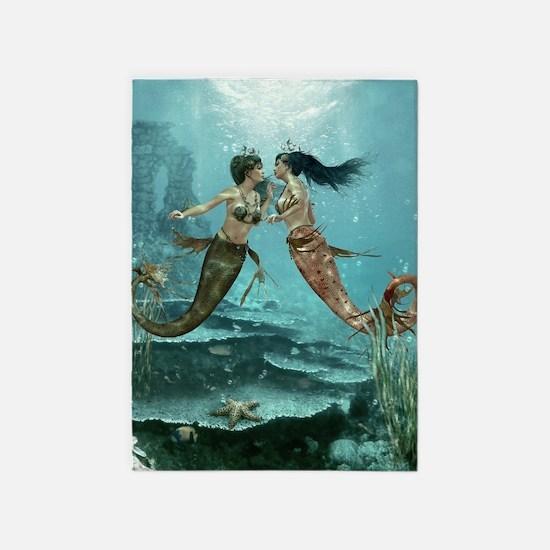 Friendly Mermaids 5'x7'Area Rug