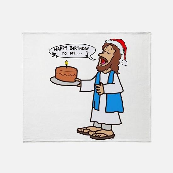 Happy Birthday Jesus Christmas Throw Blanket