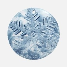 Snowflake Crystals Round Ornament
