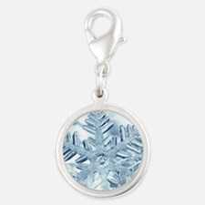 Snowflake Crystals Silver Round Charm