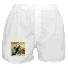 french botanical vintage peacock Boxer Shorts