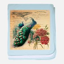 french botanical vintage peacock baby blanket