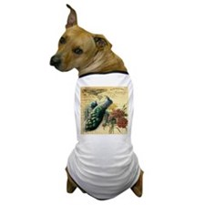 french botanical vintage peacock Dog T-Shirt