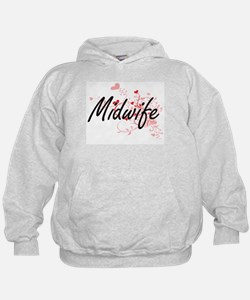 Midwife Artistic Job Design with Heart Hoodie