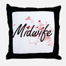 Midwife Artistic Job Design with Hear Throw Pillow