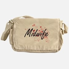 Midwife Artistic Job Design with Hea Messenger Bag