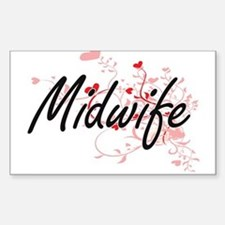 Midwife Artistic Job Design with Hearts Decal