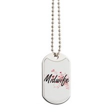 Midwife Artistic Job Design with Hearts Dog Tags