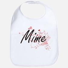 Mime Artistic Job Design with Hearts Bib