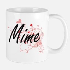 Mime Artistic Job Design with Hearts Mugs