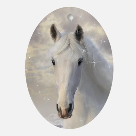 Sparkling White Horse Oval Ornament