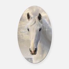 Sparkling White Horse Oval Car Magnet