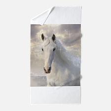 Sparkling White Horse Beach Towel