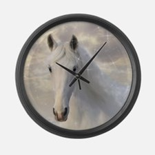 Sparkling White Horse Large Wall Clock