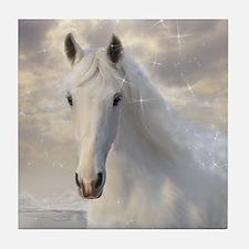 Sparkling White Horse Tile Coaster