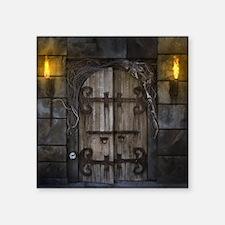 "Gothic Spooky Door Square Sticker 3"" x 3"""