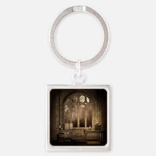 Gothic Library Window Square Keychain