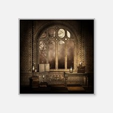 "Gothic Library Window Square Sticker 3"" x 3"""