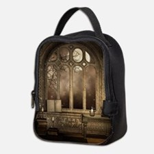 Gothic Library Window Neoprene Lunch Bag