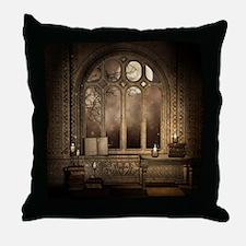 Gothic Library Window Throw Pillow