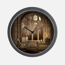 Gothic Library Window Wall Clock