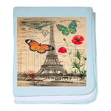 vintage butterfly paris eiffel tower baby blanket