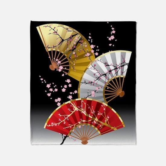Japanese Cherry Fans Throw Blanket