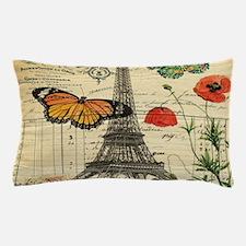 vintage butterfly paris eiffel tower Pillow Case