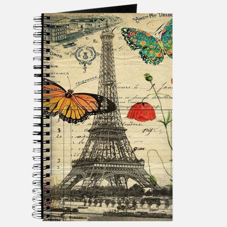 vintage butterfly paris eiffel tower Journal