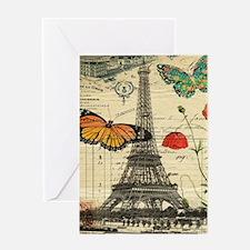 vintage butterfly paris eiffel towe Greeting Cards