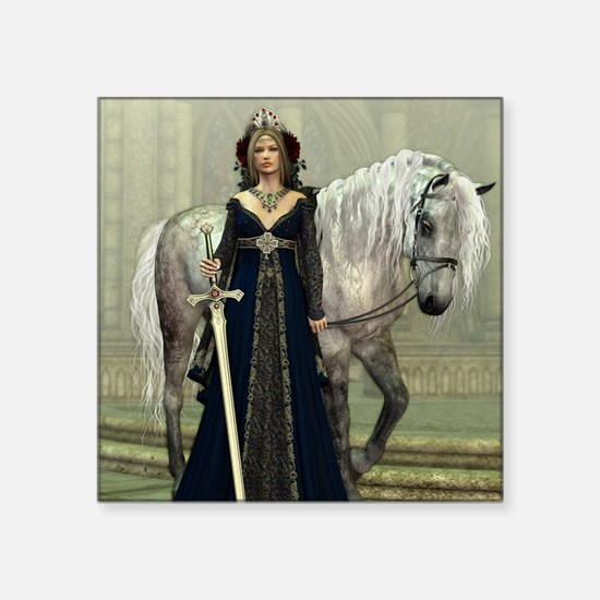 """Medieval Lady and Horse Square Sticker 3"""" x 3"""""""