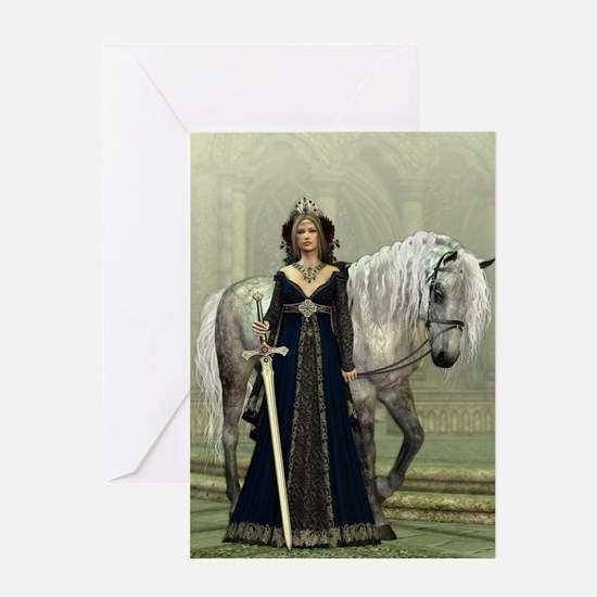 Medieval Lady and Horse Greeting Card