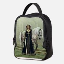 Medieval Lady and Horse Neoprene Lunch Bag