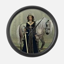 Medieval Lady and Horse Large Wall Clock