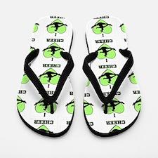 Green Cheerleader Flip Flops
