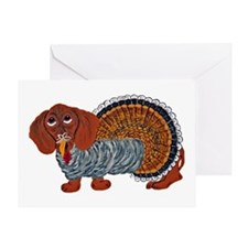 Dachshund Thanksgiving Turkey Greeting Cards