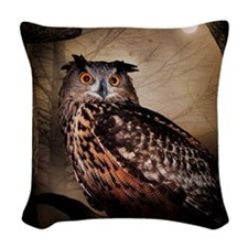 Halloween Owl Woven Throw Pillow