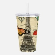 vintage butterfly pari Acrylic Double-wall Tumbler