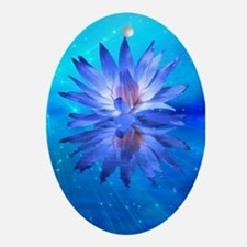 Blue Water Lily Oval Ornament